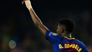 Dembélé celebra su primer gol como culé
