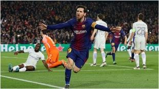 Messi, en la celebración de uno de sus goles.