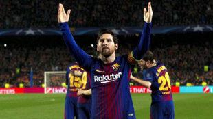 Leo Messi celebra su segundo tanto frente al Chelsea.