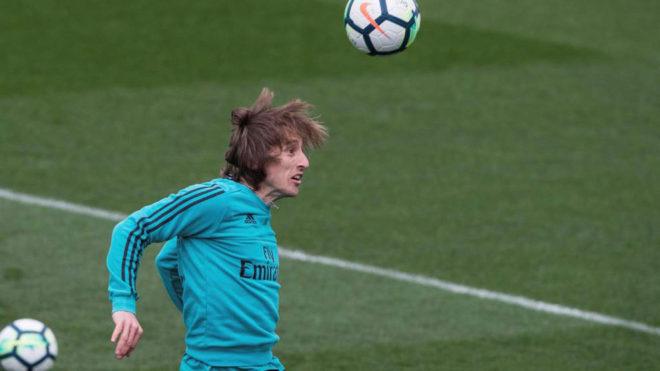 Luka Modric, durante un entrenamiento en Valdebebas.