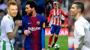 Loren, Messi, Griezmann y Cristiano son de los delanteros más en...