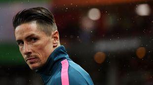 Fernando Torres antes del partido ante el Lokomotiv de Moscú