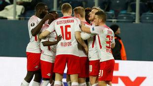 El Leizpig celebra el gol de Augustin
