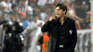 Gallardo durante el partido de la Supercopa.