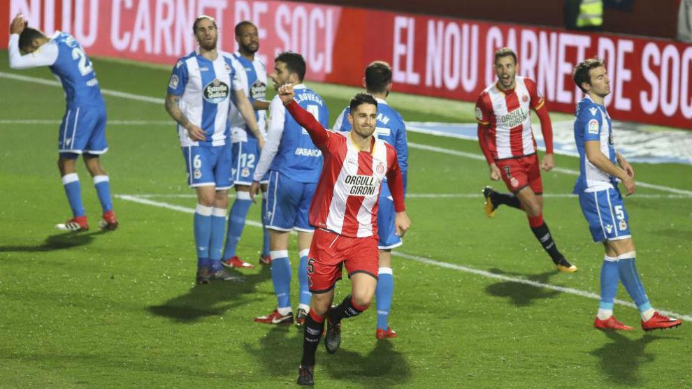 El Girona celebra el segundo gol ante el Dépor