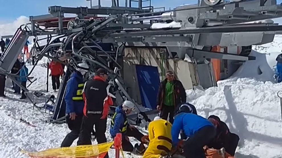 Aparato fuera de control lanza a esquiadores en Georgia
