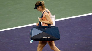 María Sharapova se despide de Indian Wells tras ser eliminada.