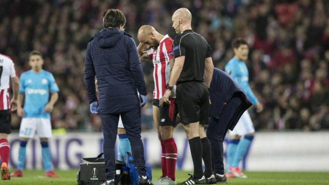 Mikel Rico, lesionado ante el Olympique de Marsella