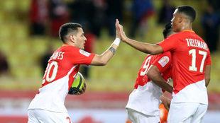 Rony Lopes celebra el tanto del empate