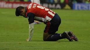 Alan Pulido se duele de una lesión