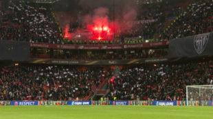Los ultras del Marsella, en San Mamés.