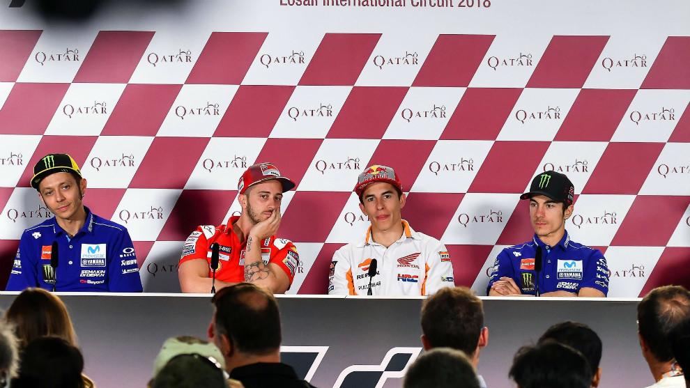 Pilotos de MotoGP, en la rueda de prensa previa al GP de Qatar
