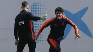Aleñá, en el entrenamiento previo a la visita del Athletic.