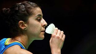 Carolina Marín, durante su partido de primera ronda.