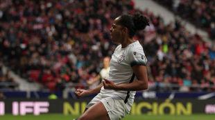 Jade Boho celebrando uno de sus goles en el Wanda Metropolitano.