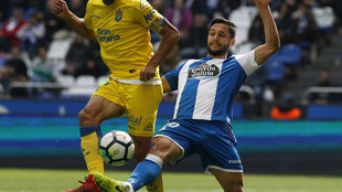 Florin Andone durante el partido de la pasada jornada frente a las...