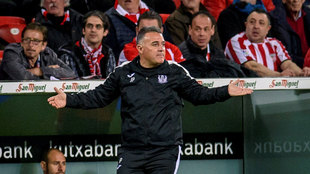 Jaime Pérez durante el pasado partido ante el Athletic