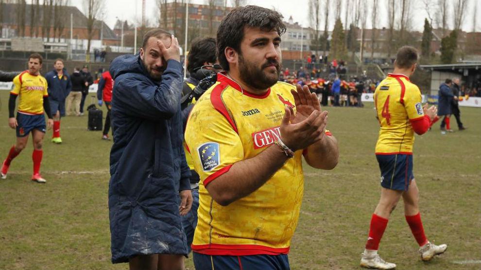 Los jugadores españoles a la conclusión del partido.