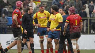 Lance del partido entre España y Bélgica.