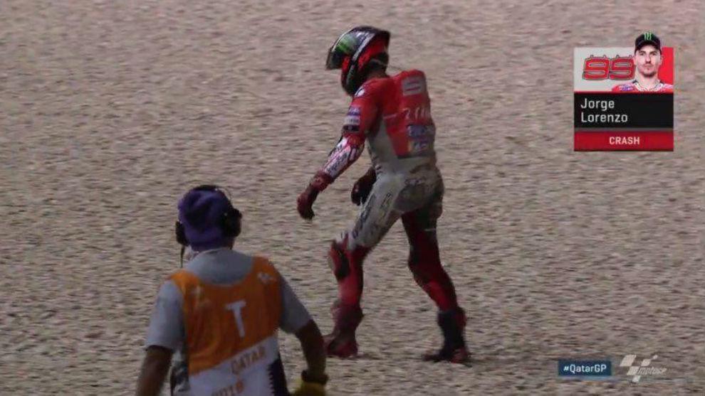 Lorenzo, tras el percance en el GP de Qatar.