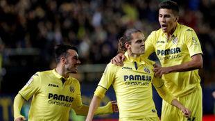 Rodri celebra el gol de Unal.