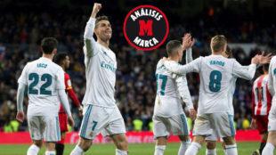 Cristiano, celebrando uno de sus goles al Girona.