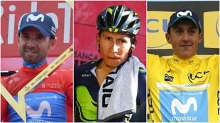 Alejandro Valverde, Nairo Quintana y Marc Soler.