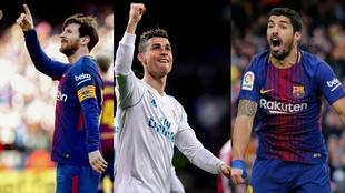 Messi, Cristiano Ronaldo y Luis Suárez son los tres favoritos para...