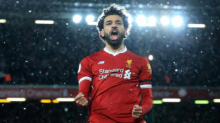 Salah celebra uno de sus goles al Watford