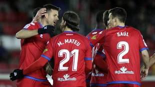 Del Moral celebra con sus compañeros un gol en Los Pajaritos esta...