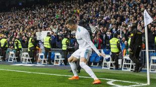 Cristiano celebra el segundo de los cuatro goles que marcó al Girona
