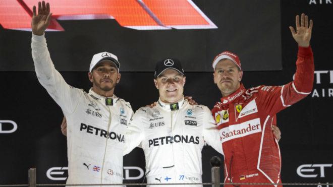 Hamilton, Bottas y Vettel.