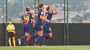 Mapi León celebra un gol con el Barcelona