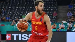 Sergio Rodríguez jugando con la Selección Española en el Eurobasket...