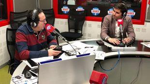 David Aganzo junto a Vicente Ortega en el estudio de Radio MARCA