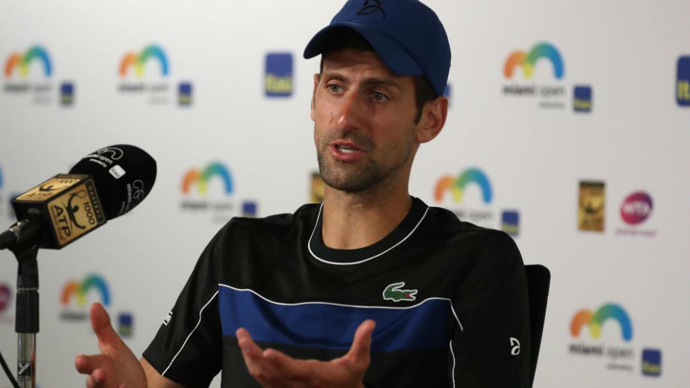 Novak Djokovic, durante la rueda de prensa que dio hoy