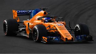 Fernando Alonso, durante los test de Montmeló