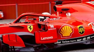 Sebastian Vettel, en el SF71H, durante los test de Montmeló