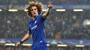 David Luiz celebra un gol contra la Roma en Champions.