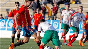 Ferrán Torres durante el partido ante Bulgaria.