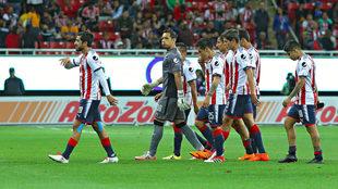El Guadalajara durante el partido ante Tigres.