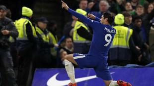 Álvaro Morata celebra un gol contra el Manchester United.