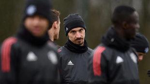 Ibra, en un entrenamiento reciente con el United.