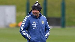 Sampaoli, con Argentina en Mánchester.