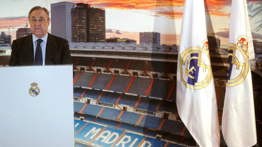 Florentino Pérez en una comparecencia ante los medios de...