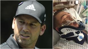 Sergio García, a la izquierda, y el chico que sufrió el accidente, a...