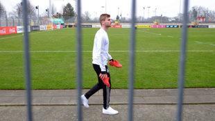 Timo Werner, en el entrenamiento de Alemania.