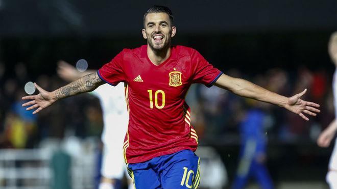 Ceballos celebra un gol con la sub 21.