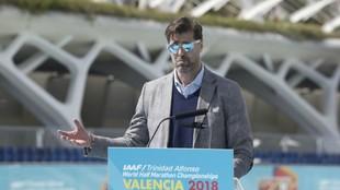 El presidente de la RFEA, Raúl Chapado, durante la rueda de prensa de...