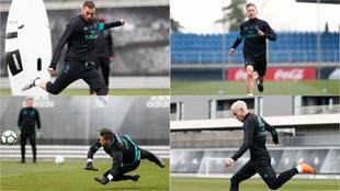 Theo, Benzema, Kiko y Llorente se entrenan en Valdebebas